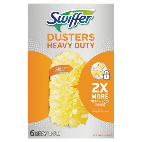 Heavy Duty Dusters Refill, Dust Lock Fiber, Yellow, 6/Box, 4 Box/Carton
