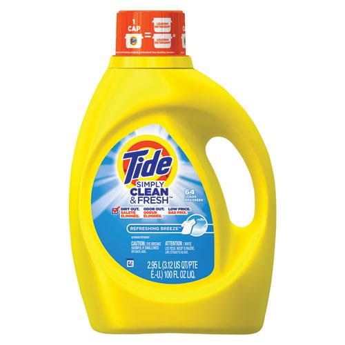 Tide® Simply Clean & Fresh Laundry Detergent, Refreshing Breeze, 100oz Bottle, 4/Crtn