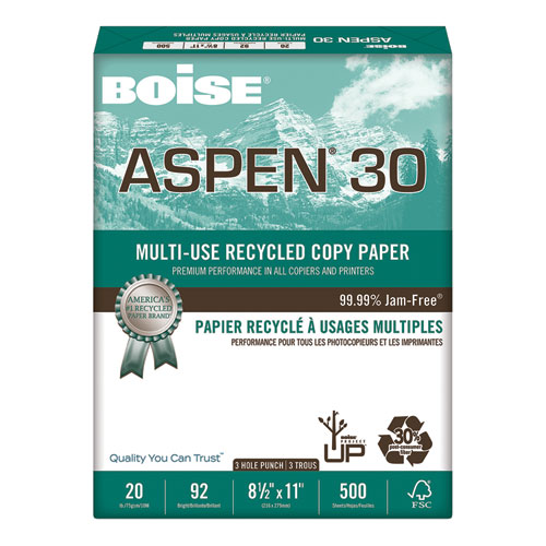 ASPEN 30 Multi-Use Recycled Paper, 92 Bright, 3-Hole, 20lb, 8.5 x 11, White, 500 Sheets/Ream, 10 Reams/Carton