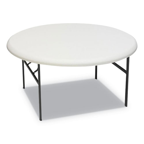 IndestrucTables Too 1200 Series Resin Folding Table, 60 dia x 29h, Platinum | by Plexsupply
