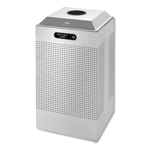 Silhouette Can/Bottle Recycling Receptacle, Square, Steel, 29 gal, Silver