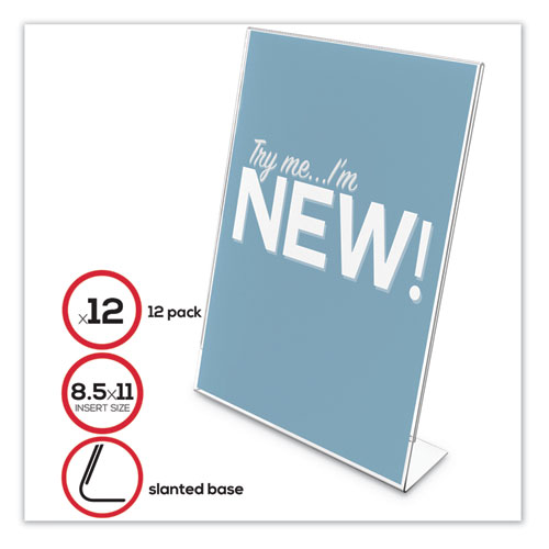 Classic Image Slanted Sign Holder, 8 1/2 x 11, Clear Frame, 12/Pack