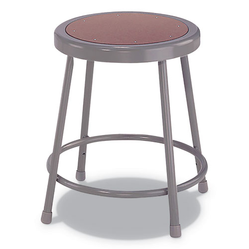 Industrial Metal Shop Stool, 18 Seat Height, Supports up to 300 lbs., Brown Seat/Gray Back, Gray Base
