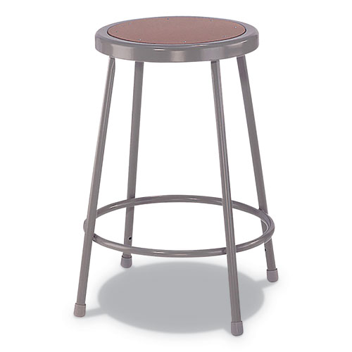 Industrial Metal Shop Stool, 30 Seat Height, Supports up to 300 lbs., Brown Seat/Gray Back, Gray Base