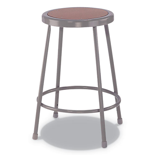 Industrial Metal Shop Stool, 24 Seat Height, Supports up to 300 lbs., Brown Seat/Gray Back, Gray Base