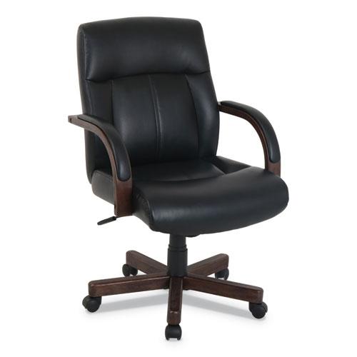 kathy ireland OFFICE by Alera Dorian Series Wood-Trim Leather Office Chair, Black Seat/Back, Mahogany Base