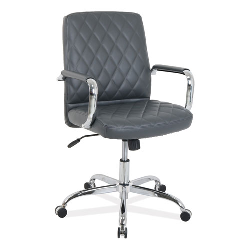 kathy ireland OFFICE by Alera Nebulous Mid-Back Diamond-Embossed Leather Chair, Up to 275 lbs., Gray Seat, Chrome Base