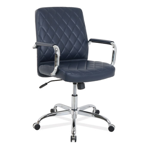 kathy ireland OFFICE by Alera Nebulous Mid-Back Diamond-Embossed Leather Chair, Up to 275 lbs., Navy Blue Seat, Chrome Base