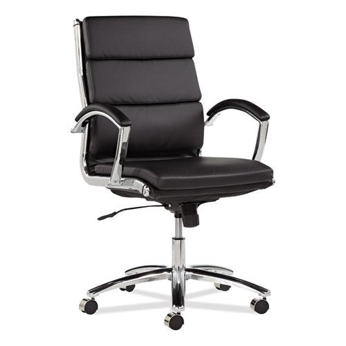 Alera® Alera Neratoli Mid-Back Slim Profile Chair, Supports up to 275 lbs., Black Seat/Black Back, Chrome Base