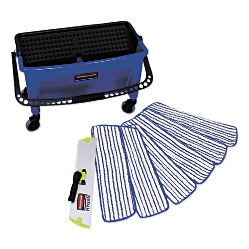 Microfiber Floor Finishing System, 27gal, Blue/Black/White | by Plexsupply