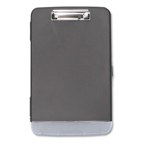 Storage Clipboard w/Pen Compartment, 1/2 Capacity, 8 1/2 x 11, Black