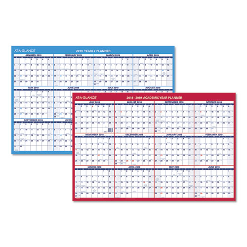 at a glance horizontal erasable wall planner 36 x 24 red 2019