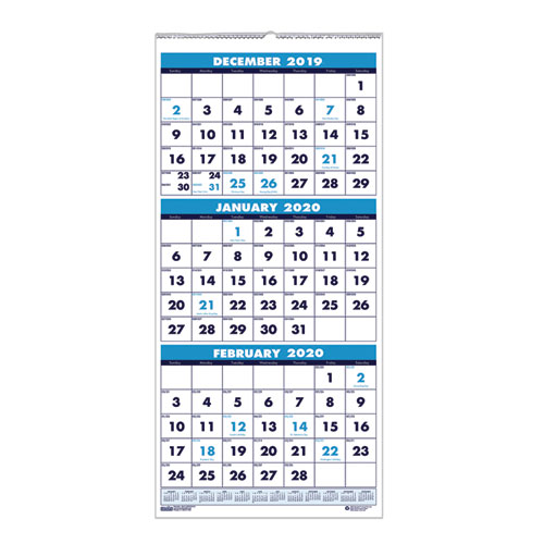 Recycled Three Month Format Wall Calendar 8x17 14 Month Dec Jan