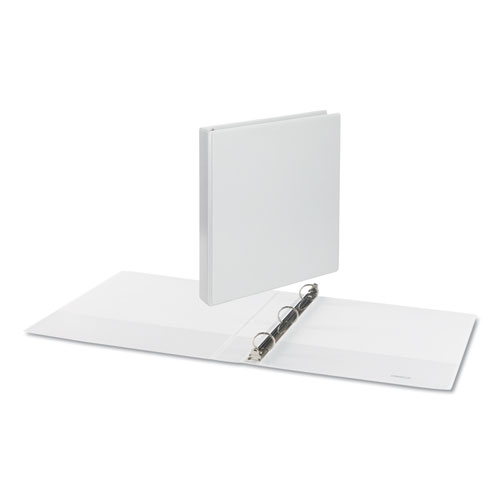 """Deluxe Round Ring View Binder, 3 Rings, 1"""" Capacity, 11 x 8.5, White"""