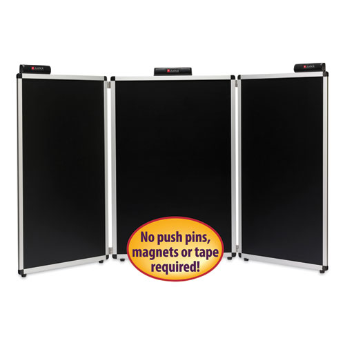 Justick Three-Panel Electro-Surface Table-Top Expo Display, 72 x 36, Black