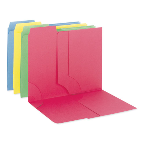 3-in-1 SuperTab Section Folders, 1/3-Cut Tabs, Left Position, Letter Size, Assorted, 12/Pack | by Plexsupply
