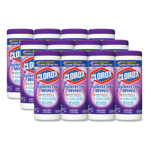 Clorox® Disinfecting Wipes, 7 x 8, Fresh Lavender, 35/Canister, 12/Carton