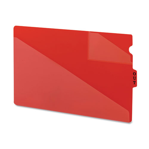 End Tab Poly Out Guides, Two-Pocket Style, 1/3-Cut End Tab, Out, 8.5 x 14, Red, 50/Box