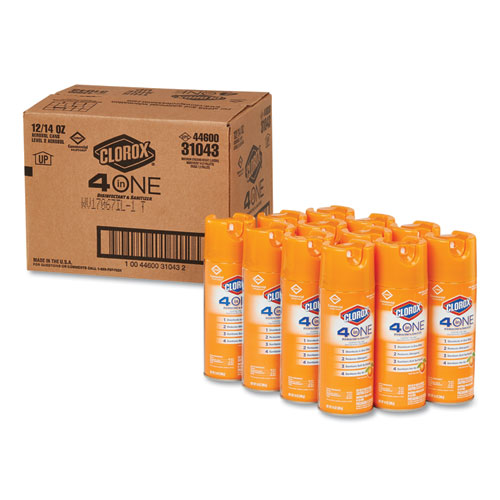 4-in-One Disinfectant and Sanitizer, Citrus, 14 oz Aerosol, 12/Carton