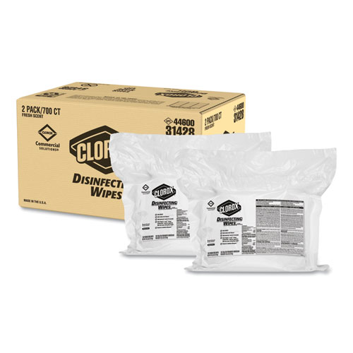 Disinfecting Wipes, Fresh Scent, 7 x 8, 700/Bag Refill, 2/Carton