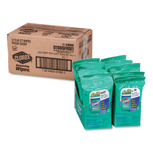 Clorox® Disinfecting Wipes On The Go, Fresh Scent, 7 x 8, 9/Pack, 24 Packs/Carton