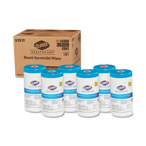 Bleach Germicidal Wipes, 6 3/4 x 9, Unscented, 70/Canister