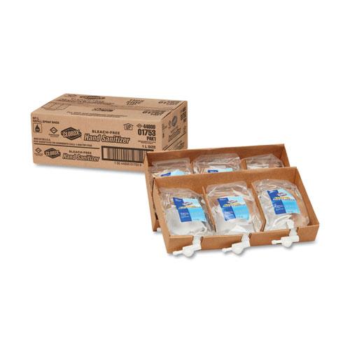 Push Button Dispenser Refill Liquid Hand Sanitizer, 1 L Bag, 6/Carton