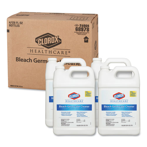 Bleach Germicidal Cleaner, 128 oz Refill Bottle, 4/Carton | by Plexsupply
