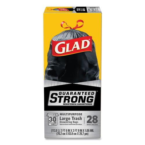 """Glad® Drawstring Large Trash Bags, 30 gal, 1.05 mil, 30"""" x 33"""", Black, 15/Box"""