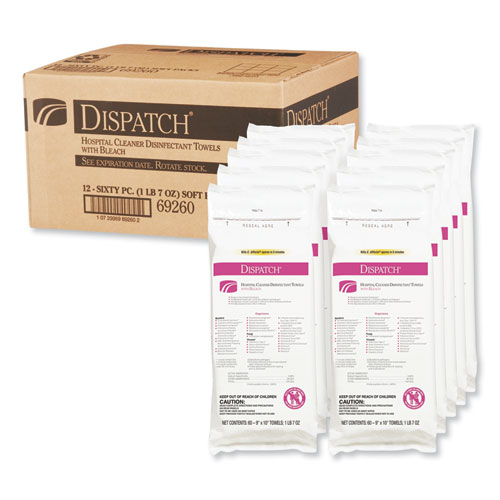 Clorox® Healthcare® Dispatch Cleaner Disinfectant Towels with Bleach, 9 x 10, 60/Pack, 12 Pks/Carton