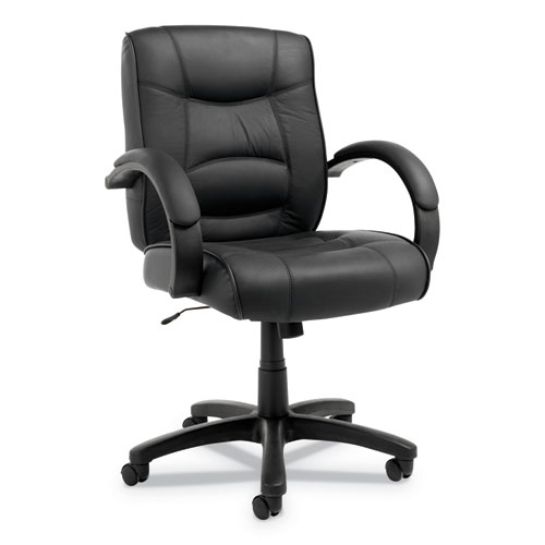Alera Strada Leather Mid-Back Swivel/Tilt Chair, Supports up to 275 lbs., Black Seat/Black Back, Black Base | by Plexsupply
