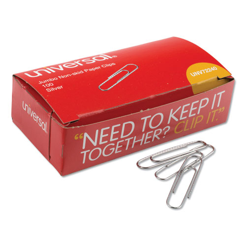 Paper Clips, Jumbo, Silver, 100 Clips/Box, 10 Boxes/Pack | by Plexsupply