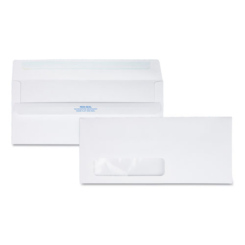 Redi-Seal Envelope, #10, Commercial Flap, Redi-Seal Closure, 4.13 x 9.5, White, 500/Box | by Plexsupply