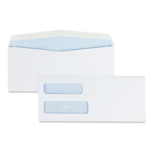 Double Window Security-Tinted Check Envelope, #10, Commercial Flap, Gummed Closure, 4.13 x 9.5, White, 500/Box | by Plexsupply
