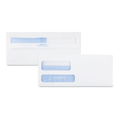 Double Window Redi-Seal Security-Tinted Envelope, #9, Commercial Flap, Redi-Seal Closure, 3.88 x 8.88, White, 500/Box | by Plexsupply