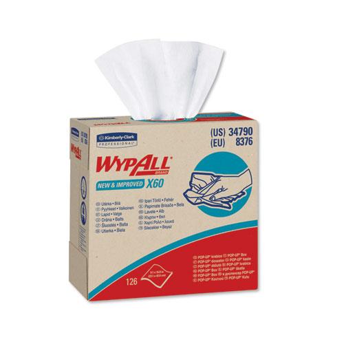 WypAll® X60 Cloths, POP-UP Box, White, 9 1/8 x 16 7/8, 126/Box, 10 Boxes/Carton