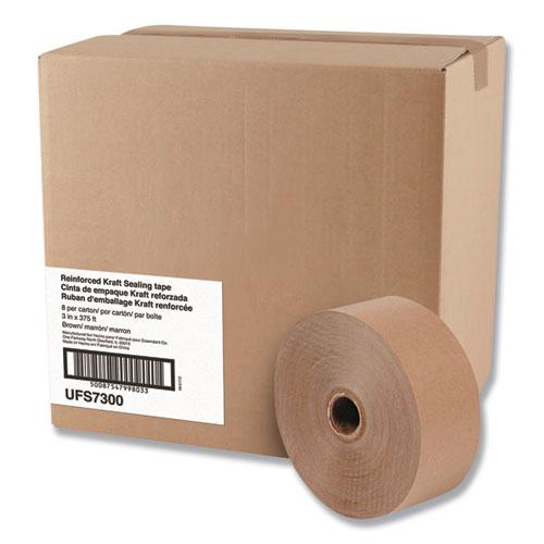 Glass-Fiber Reinforced Gummed Kraft Sealing Tape, 3 Core, 3 x 375 ft, Brown, 8/Carton