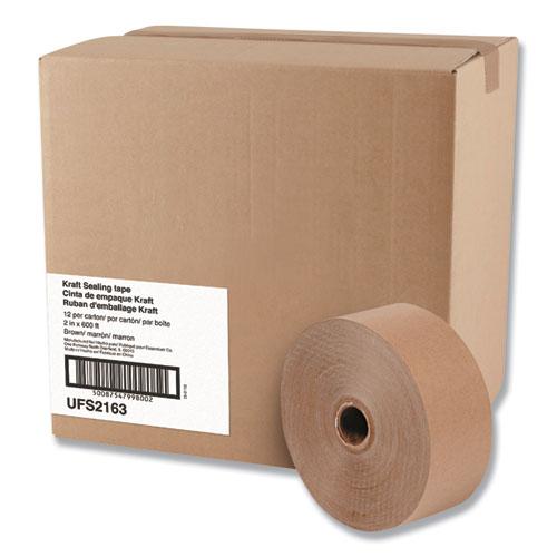 Gummed Kraft Sealing Tape, 3 Core, 2 x 600 ft, Brown, 12/Carton