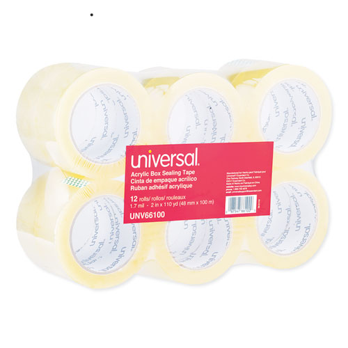 Deluxe General-Purpose Acrylic Box Sealing Tape, 3 Core, 1.88 x 110 yds, Clear, 12/Pack