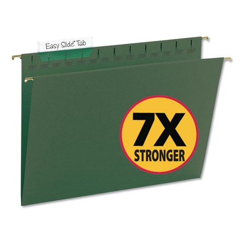 TUFF Hanging Folders with Easy Slide Tab, Letter Size, 1/3-Cut Tab, Standard Green, 20/Box
