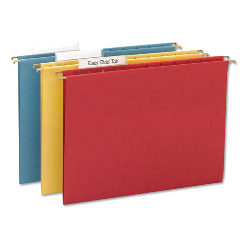 TUFF Hanging Folders with Easy Slide Tab, Letter Size, 1/3-Cut Tab, Assorted, 15/Box