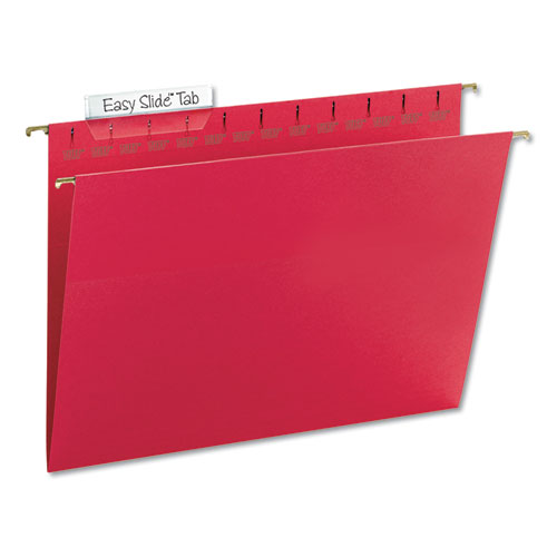 TUFF Hanging Folders with Easy Slide Tab, Letter Size, 1/3-Cut Tab, Red, 18/Box | by Plexsupply