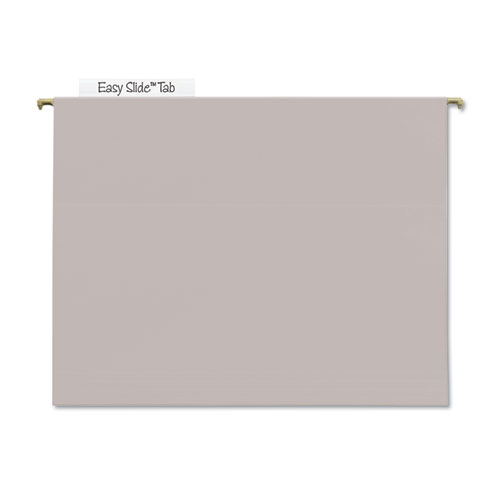 TUFF Hanging Folders with Easy Slide Tab, Letter Size, 1/3-Cut Tab, Steel Gray, 18/Box | by Plexsupply