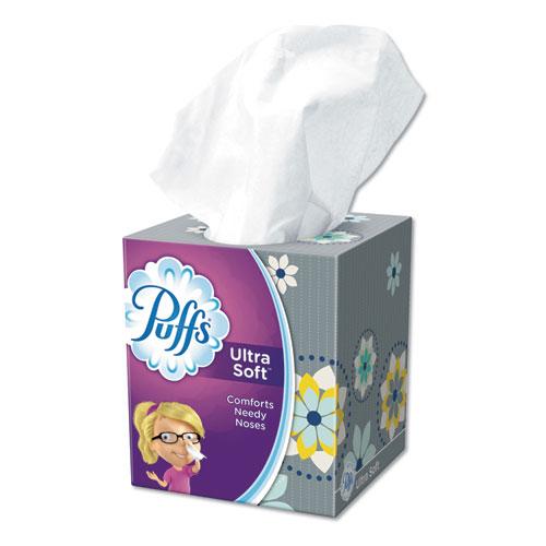 Puffs® Ultra Soft Facial Tissue, 2-Ply, White, 56 Sheets/Box, 24 Boxes/Carton