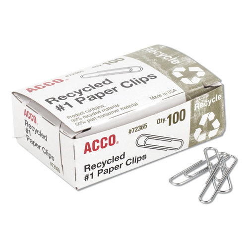 ACCO Recycled Paper Clips, Small (No. 1), Silver, 100/Box, 10 Boxes/Pack