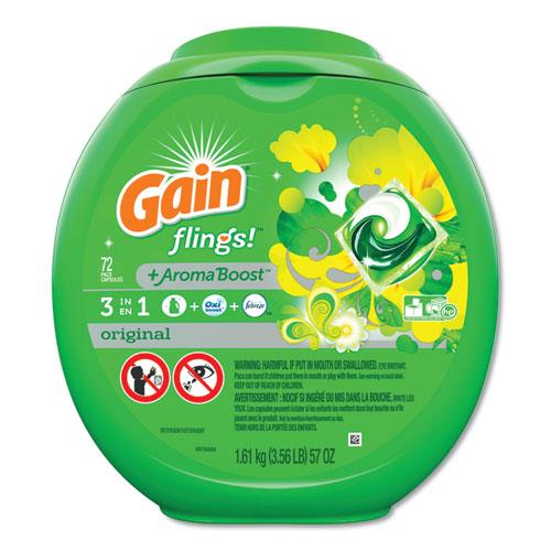 Gain® Flings Detergent Pods, Original, 72/Container, 4 Container/Carton
