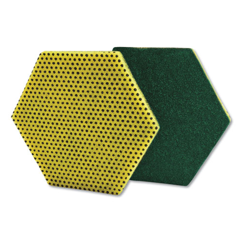 Dual Purpose Scour Pad, 5 x 5, Green/Yellow, 15/Carton