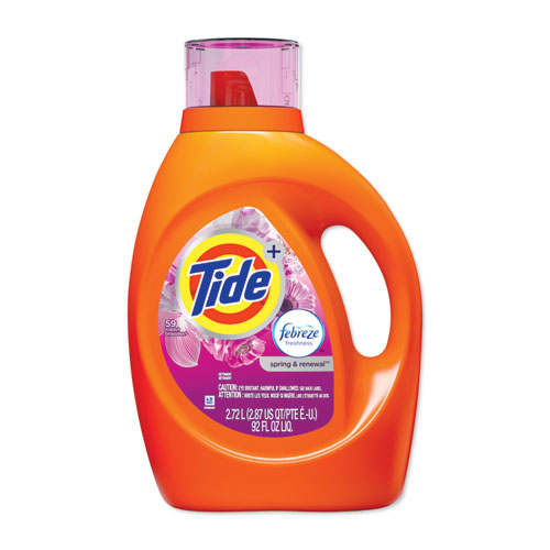 Tide® Plus Febreze Liquid Laundry Detergent, Spring & Renewal, 92oz Bottle, 4/Carton