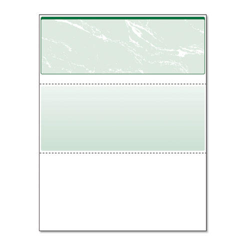 Standard Security Check, 11 Features, 8.5 x 11, Green Marble Top, 500/Ream | by Plexsupply