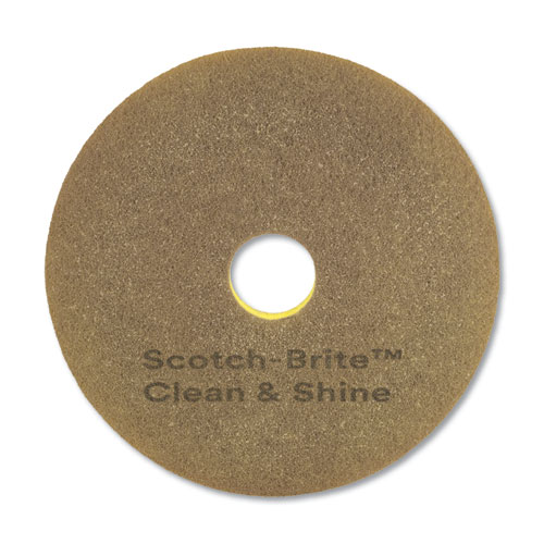 Clean and Shine Pad, 17 Diameter, Yellow/Gold, 5/Carton